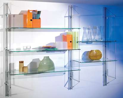 shelving, wall fixed and free standing, for commercial and home interiors