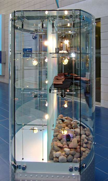 Glass And Mirror Polished Curved Stainless Steel Framed Custom Made  Freestanding Display Cabinet For Motorolau0027s UK Head Office. This Cabinet  Also Features ...