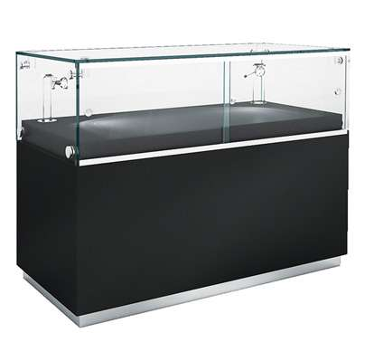 Superieur Display Counter Cabinet In Black High Gloss Finish With Stainless Steel  Skirting Trim, Featuring Sliding Lockable Doors And Adjustable Disc Mounted  ...