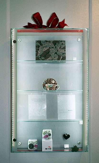 Wall Fixed Glass Display Cabinet In Mirror Polished Stainless Steel And 6mm  Toughened Glass, With Hinged Lockable Door And Low Voltage LED Strip  Lighting.