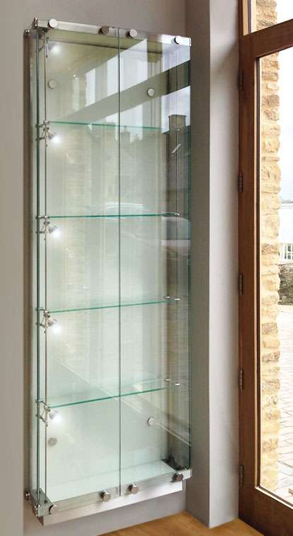 Tall Wall Fixed Glass Display Cabinet In Satin Polished Stainless Steel And  6mm Toughened Glass, With Two Lockable Hinged Doors, Four Height Adjustable  ...