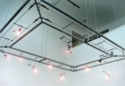 suspended lighting. We Produced This Cable Suspended Lighting Gantry And It\u0027s Supporting Framework Above In Silver Powder Coated Mild Steel The Installation Utilised A