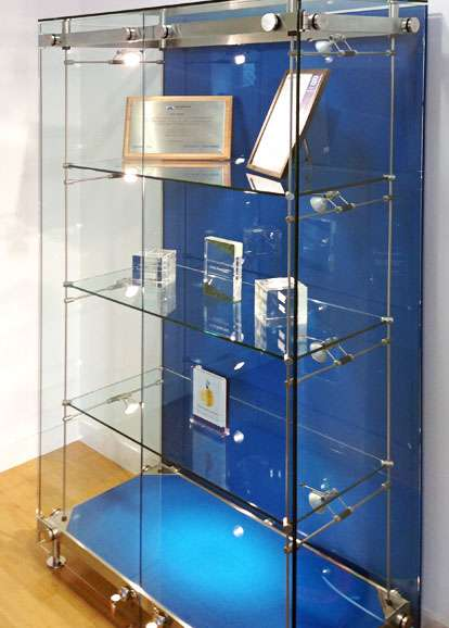 Glass Trophy Display Cabinet With Stainless Steel And Blue Glass Custom  Made In The UK