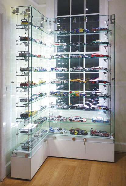 Ordinaire Custom Made U0027Lu0027 Shaped Glass Display Cabinet To Exhibit Model Racing Cars  On Adjustable Glass Shelves With Integral Low Voltage Lighting.