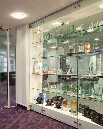 Glass Trophy Display Case With Lighting Made In The UK By Shopkit